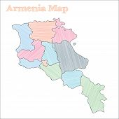 Armenia Hand-drawn Map. Colourful Sketchy Country Outline. Vector Illustration. poster