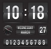 retro flip clock with date and analog dial timer vector template