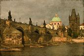 Charles Bridge in Prague - Vintage
