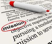 A dictionary page with the definition for the word Mission circled with a red marker to define a tas