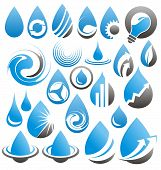 Vector set of water drops icons, signs, symbols