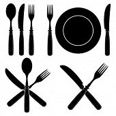 Vintage Cutlery Silhouettes designs