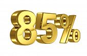 85% discount digits in gold metal, eighty five percent off golden sign