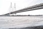 Obukhovsky Bridge Across Neva River