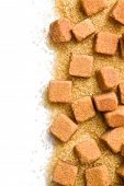 brown sugar cubes and crystal sugar