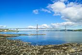 Forth Road Suspension Bridge On Firth Of Forth. Edinburgh, Scotland