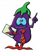Funny Cartoon Eggplant Is Office Worker