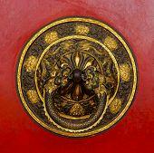 Tibetan door knocker in Bodhnath, Kathmandu