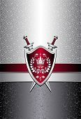 Seamless pattern with drops or shield swords on silver background