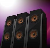 Tres altavoces hi-fi en antecedentes, vector illustration