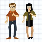 Cartoon man and women. Easy to animate. Vector.