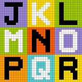 8-bit Pixel Letters Set 2: JKL MNO PQR
