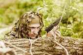 Young Camouflaged Military Man