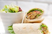 image of pita  - falafel pita bread roll wrap sandwich traditional arab middle east food - JPG