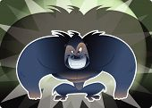 stock photo of envy  - A cartoon big envy dark gorilla smiling - JPG