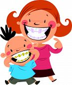picture of braces  - Happy mom and son smiling showing their colorful braces - JPG
