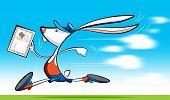 Постер, плакат: Письмо доставки быстро почтальон кролик