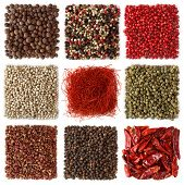 Assortment of peppercorns and chili  isolated on white background