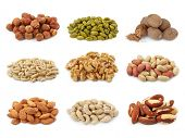 stock photo of brazil nut  - Nuts collection isolated on white background - JPG
