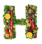 Fruit and vegetable alphabet - letter H