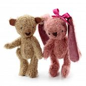 Hare toy and teddy bear