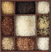 Assortment of rice in wooden box