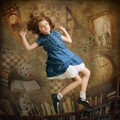 stock photo of alice wonderland  - Alice falling down the rabbit hole - JPG