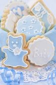 Baby boy cookies in a box