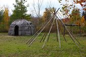 stock photo of wigwams  - Wigwam bent house made from White Cedar bark in Michigan - JPG