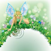 Vector illustration with a fairy girl with blue wings seated near the water bordered by plants and f