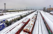 Cargo Train Platform At Winter, Railway - Freight Tranportation