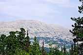 foto of ural mountains  - One of the elevations of the mountain range Kvarkush in the Ural Mountains - JPG
