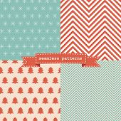 stock photo of symmetrical  - Set of simple retro Christmas patterns - JPG