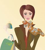 ector of a Woman on Shopping with Bags