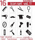 stock photo of barber  - Vector black barber icon set on white background - JPG