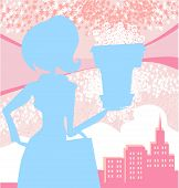 Fashion Girl Shopping,pink And Blue Abstract Illustration