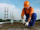 pic of bender  - Bar bender fixing steel reinforcement for house concrete floor slab - JPG