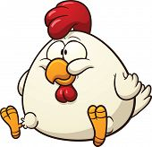 Fat chicken clip art. Vector cartoon illustration with simple gradients. All in a single layer.