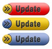 Update software now and here to the latest newest version or new edition, red yellow and blue button banner or icon