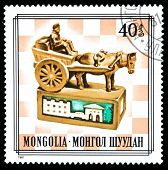Mongolia Stamp Rook Chess Piece
