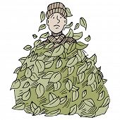 An image of a man buried under a leaf pile.