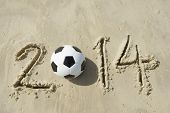Brazil 2014 Soccer Football  Message on Sand