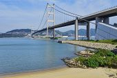 hong kong bridge, Tsing Ma Bridge and beach scenes in summer.