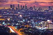 Downtown Los Angeles, California, USA skyline at dawn.