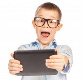 funny boy with tablet. isolated