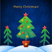 Old paper with  gold garland. Christmas tree Greeting Card.
