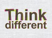 Education concept: Think Different on fabric texture background