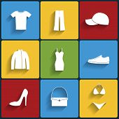 Clothes Flat Vector Icons Set