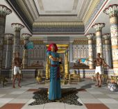 picture of eunuch  - Pharaoh the ancient Egyptian Ruler stands in his throne room prepared to meet a subject - JPG