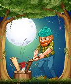 Illustration of a forest with a hardworking woodman chopping woods